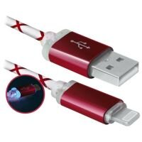 Кабель DEFENDER USB08-03LT, USB2.0, красный, LED, AM-MicroBM, 1м